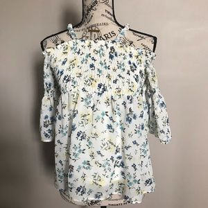 Beautees-girls cold shoulders floral tops-XL